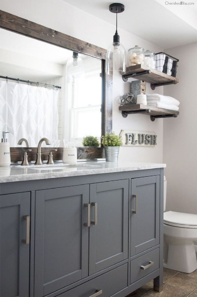 10 Blue and Brown Bathroom with Vanity Farmhouse