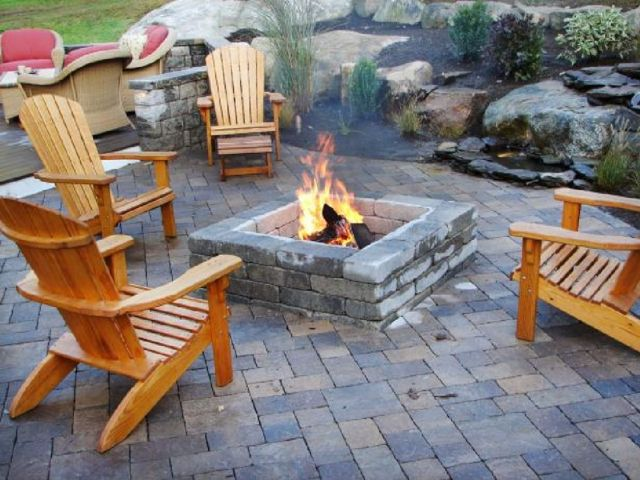 Garden Backyard Design Ideas With Fireplace 04