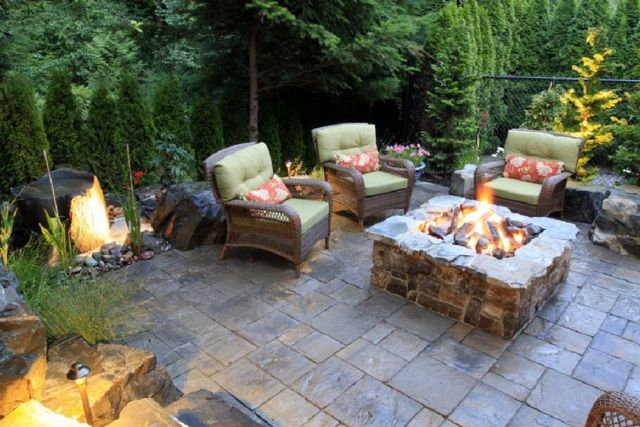 Garden Backyard Design Ideas With Fireplace 02