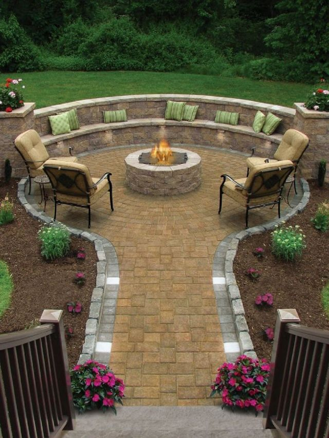 Garden Backyard Design Ideas With Fireplace 01