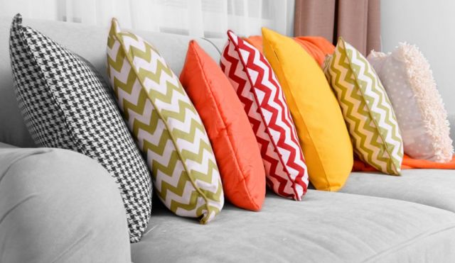 Use a Colorful Pillow Case for the Sofa in the Family Room