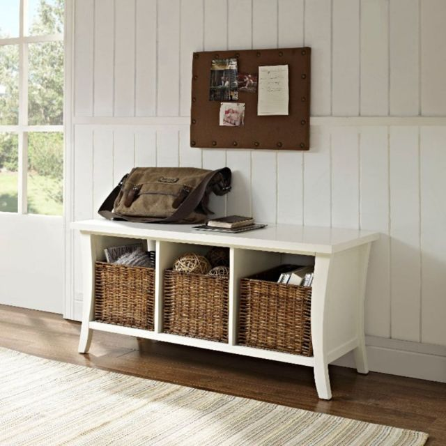 White Entryway and Storage Table