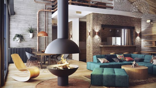 Industrial Style Apartment Living Room 2