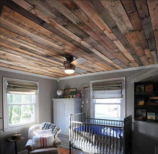 More Artistic Space with a Ceiling of Wood Pallets