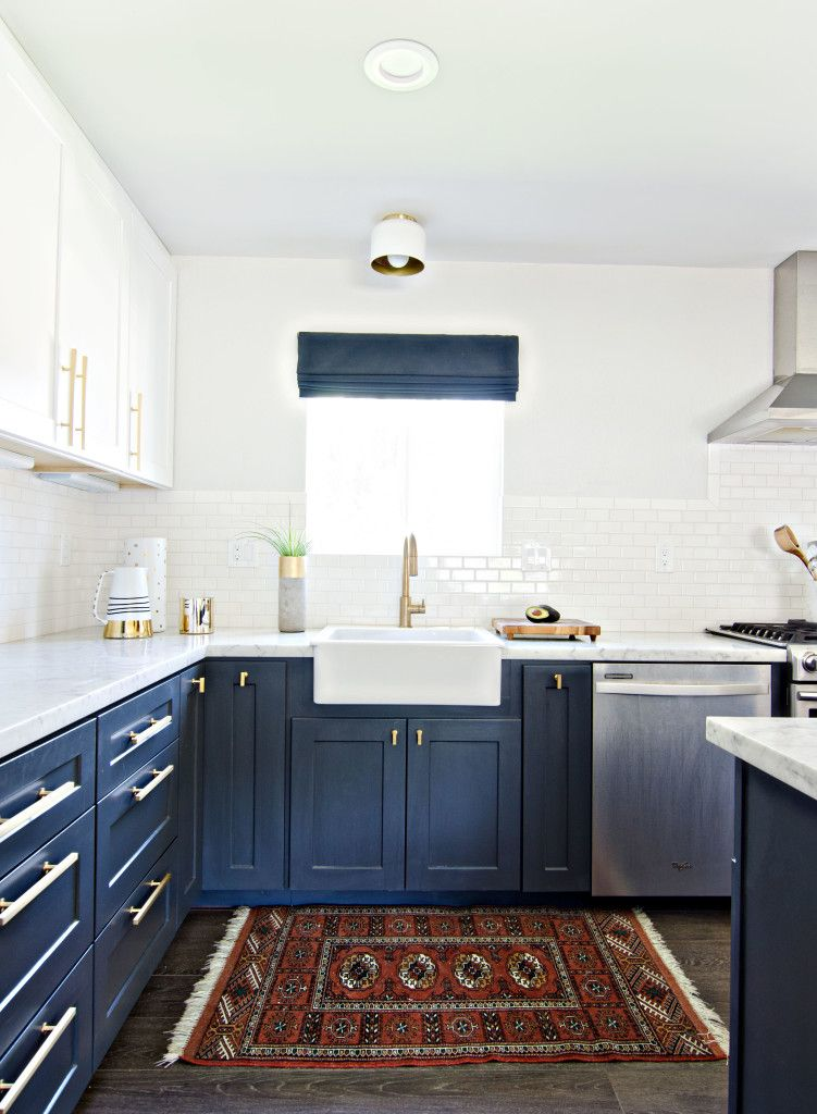 Blue Kitchen Cabinets With Gold Hardware