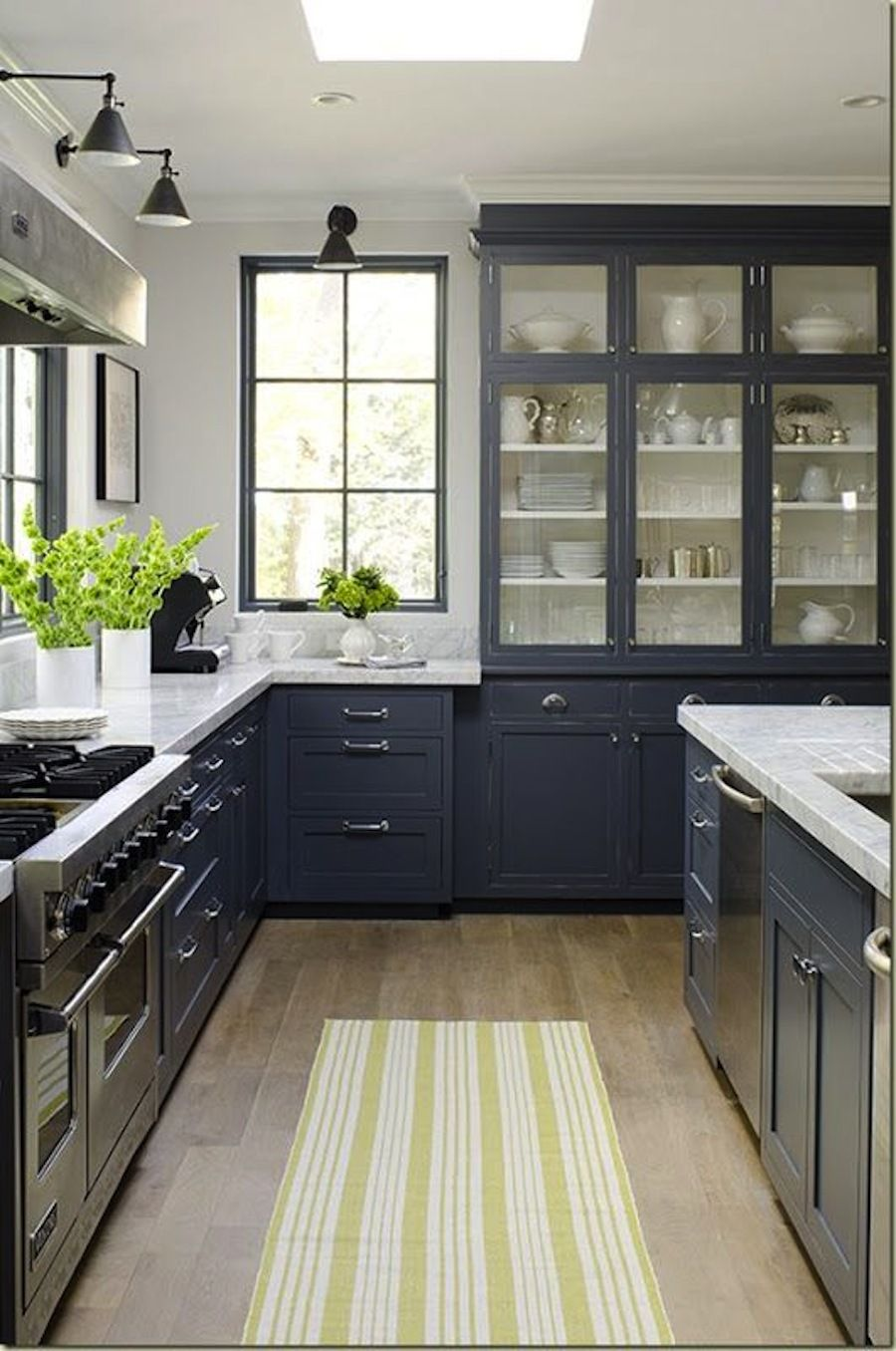 Blue Kitchen Cabinets With Gray Walls