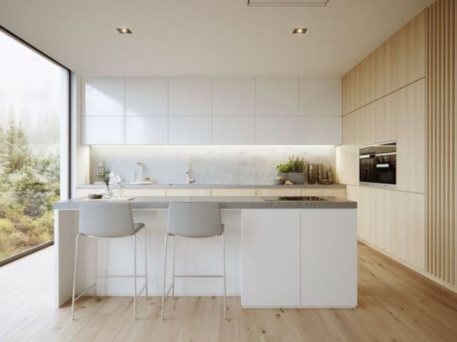 A Minimalist Kitchen that Saving the Use of Lights