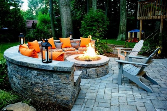 Garden Backyard Design Ideas With Fireplace 05