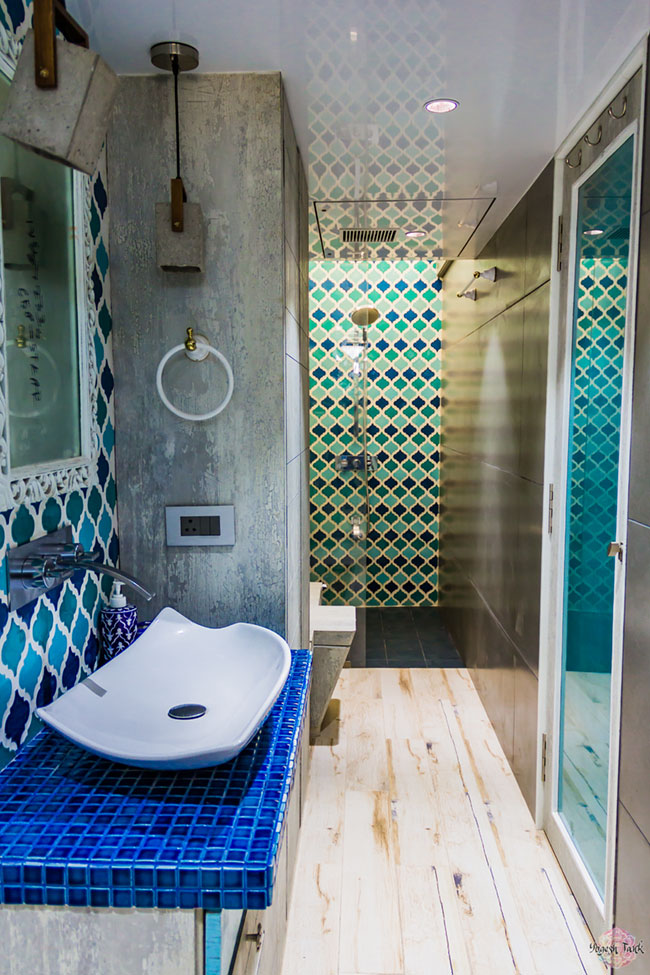 Moroccan tiles in bathroom. A continuity to Rann of Kutch inspired kids bedroom.