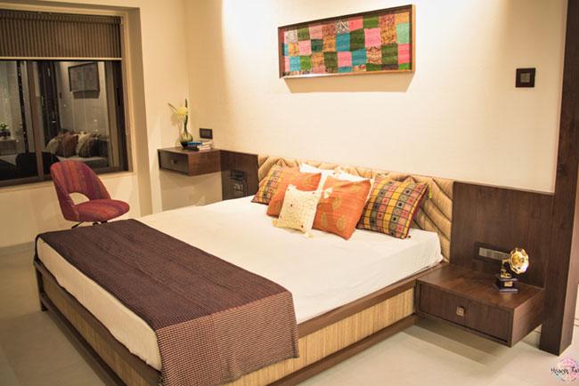Kutch art inspired master bedroom