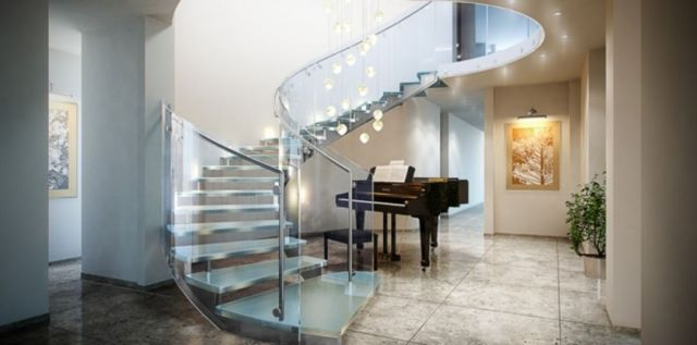 Minimalist Staircase Glass Design Ideas 2